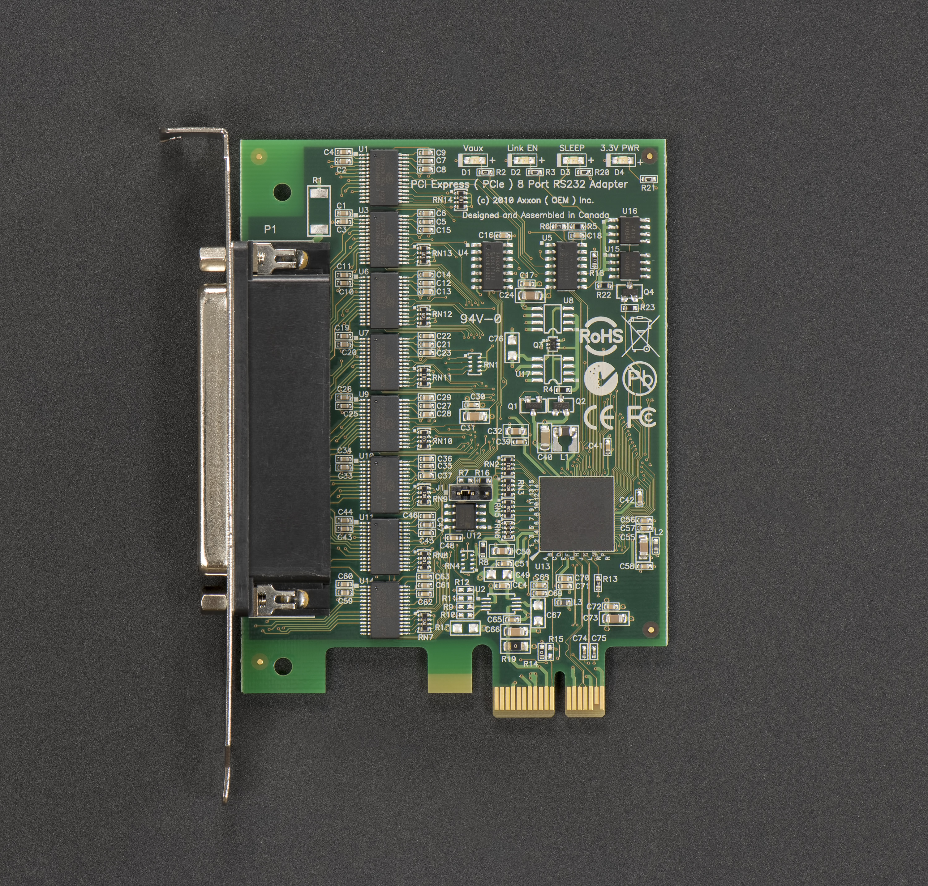 LF781KB PCI Express 8 Port RS232 Host Adapter (Windows / Linux); Full Height